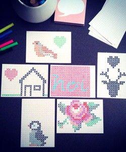 kruissteek kaarten ingekleurd
