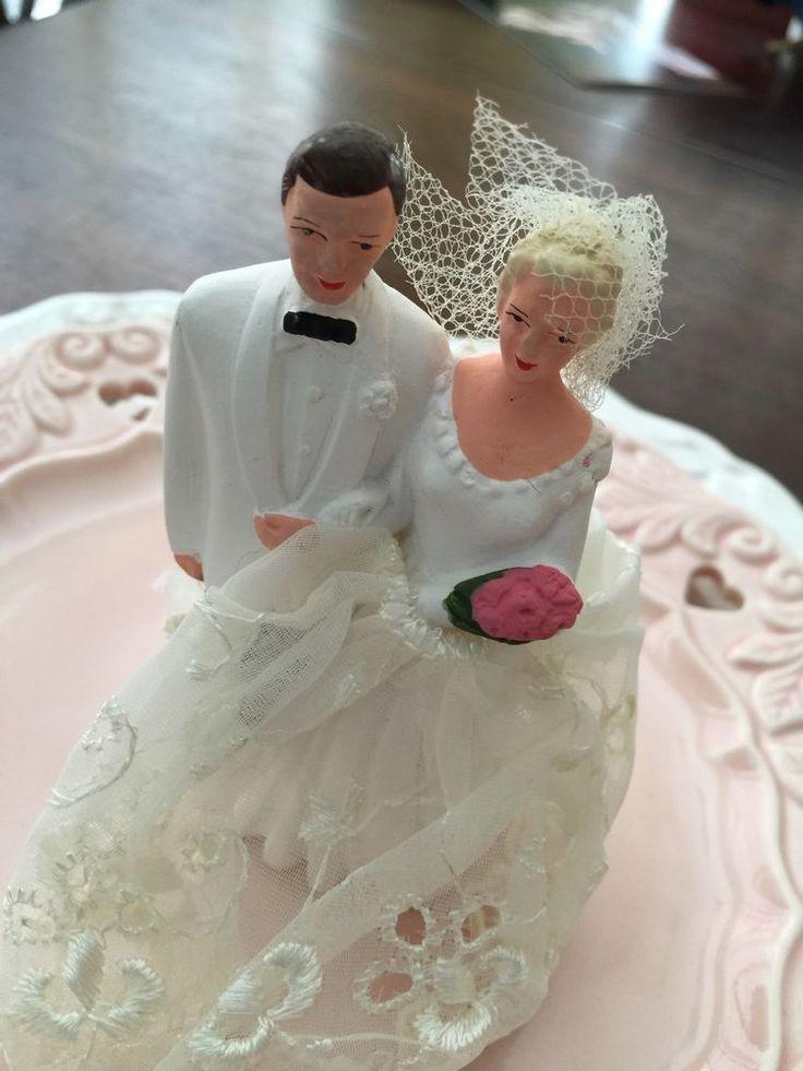 Vintage Wedding Cake Topper Blonde Bride Dark Haired Groom!! Cool, 1950s!!