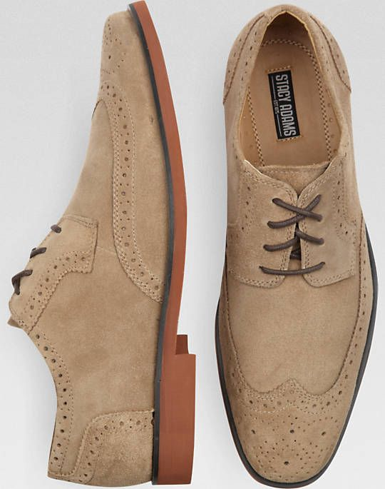 Stacy Adams Telford Tan Suede Wingtips - Casual Shoes | Men's Wearhouse