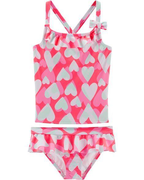 74fbbf7450 OshKosh Heart Tankini | Little girl swimsuits | Baby girl swimsuit ...