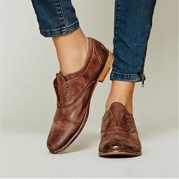 Fashion Leather Flat Shoes | Oxford shoes outfit, Casual shoes, Leather flat  shoes
