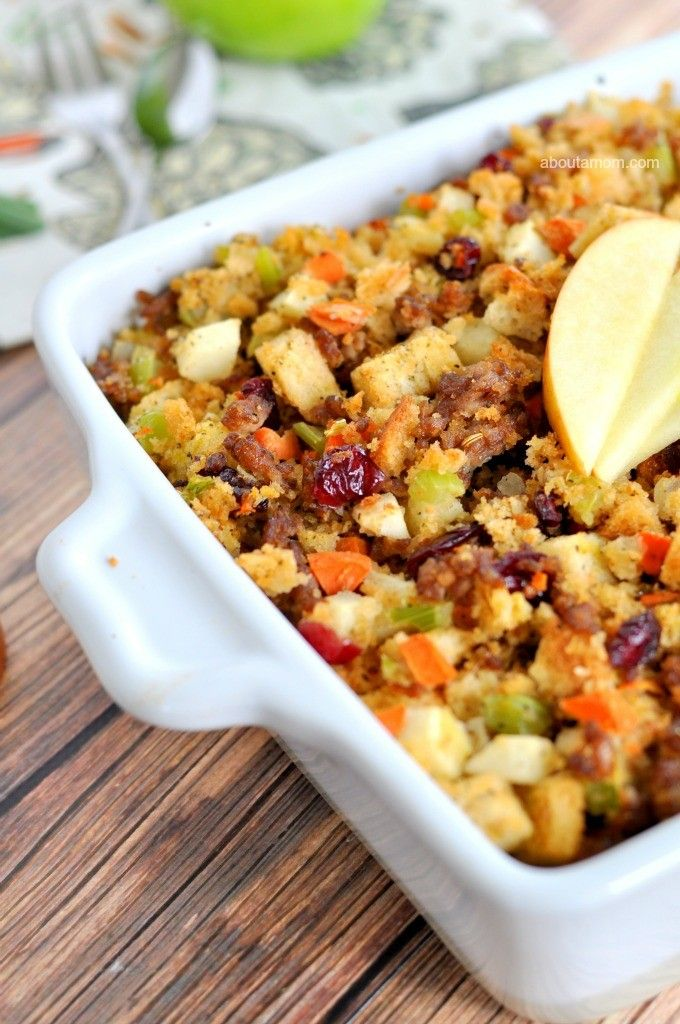 This classic apple and sausage stuffing recipe is a crowd-pleasing Thanksgiving side dish that's loaded up with vegetables, fruit, and savory sage sausage.