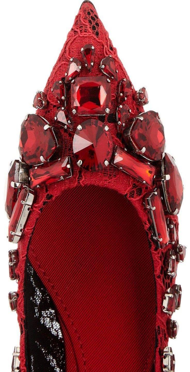 Dolce & Gabbana | Crystal-embellished lace pumps. ♥✤ | KeepSmiling | BeStayClassy