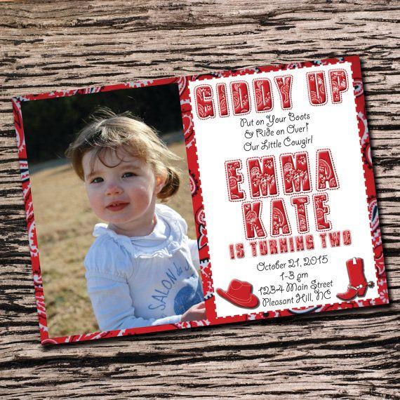 Cowgirl or Cowboy Bandana Birthday Invitation 5x7 DIGITAL