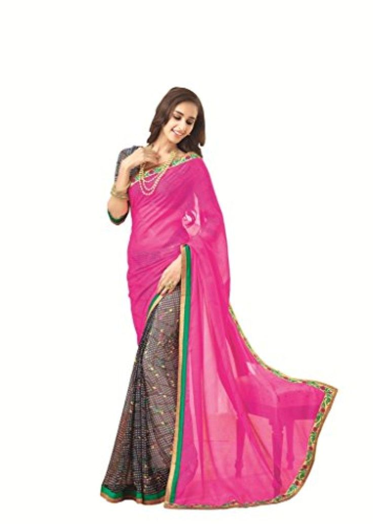 Vipul Branded Designer Indian Pakistani Silk Beige Pink With Lace Saree ( Best Gift For Mom, Wife, Sister ) With Stitched Blouse - Brought to you by Avarsha.com