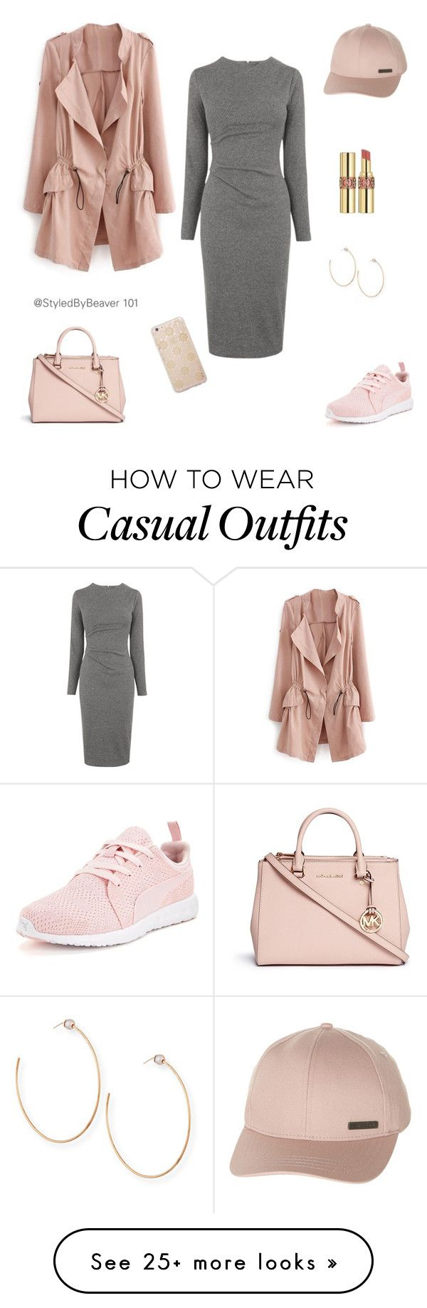WINTER FASHION| CASUALLY BLUSHED by beavers-mum on Polyvore featuring Whistles, Billabong, Michael Kors, Yves Saint Laurent, Puma, Vita Fede, Sonix, womens clothing, womens fashion and women