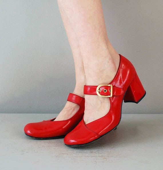 red 1960s shoes / 1960s shoes / Cherrybomb Mary by DearGolden, $136.00