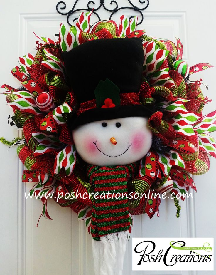 Snowman Wreath, Snowman Decor, Christmas Wreath, Christmas Swag, Top Hat, Snowman Decoration by PoshcreationsKY on Etsy