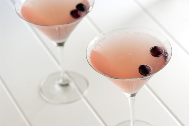 Champagne Cosmopolitan  1 1/2 ounces vodka (we like Stoli, Grey Goose and Ketel One)  1/2 ounce triple sec or Grand Marnier  1/2 ounce cranberry juice  1/2 ounce fresh squeezed lime juice  ice  2 ounces champagne (on the sweeter side