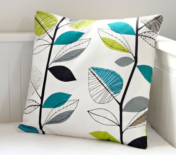 pillow cover teal blue lime green grey leaves by LittleJoobieBoo, £13.90