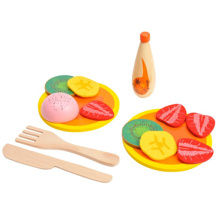 Stel je eigen pannenkoekje samen met deze 14-delige set. Inhoud: 2 pancakes, 4 plakjes aardbei, 2 plakjes banaan, mes en vork, 2 plakjes kiwi, siroop en een bolletje ijs.Afmeting:  pancake Ø 10,5 cm - Pannenkoeken, 14dlg.