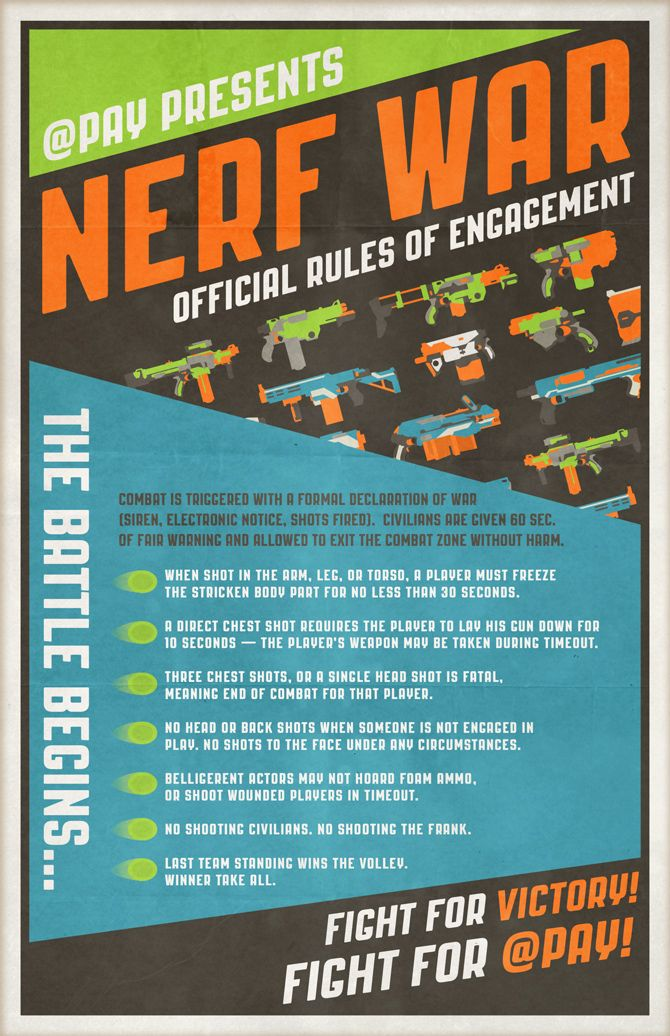 If you like to play with Nerf guns as much as we do, you're welcome to download the hi-res version of our Nerf Rules of Engagement Poster. For safety, we recommend you post it in a conspicuous location.