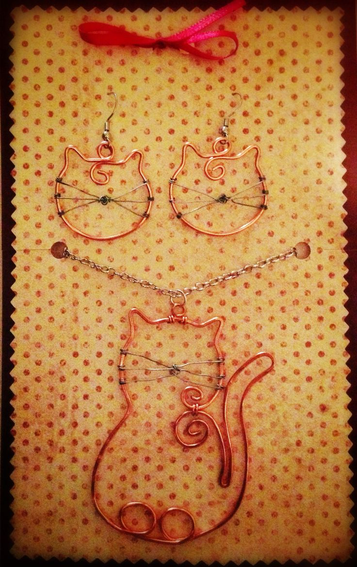 Cat silhouette copper wire pendant and earrings