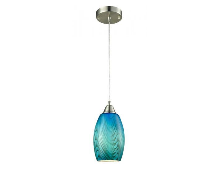 The GLAZE3 Blue Ellipse Hand Blown Glass Pendant from CLA Lighting now available at OzLighting.com.au