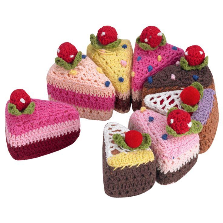 crochet cake slices More
