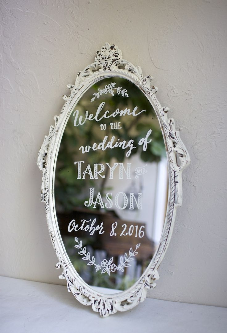 Wedding welcome on shabby chic vintage white mirror. Hand painted personalized wedding signs. Etsy art with florals and leaves                                                                                                                                                                                 もっと見る