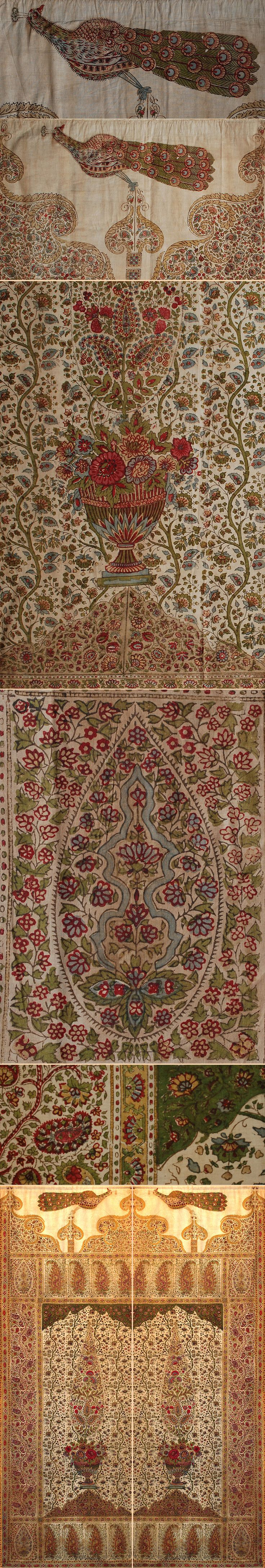 Antique Indian Block Print on Cotton two Panel Door Cover   Mughal Dynasty  1526 - 1857 A.D