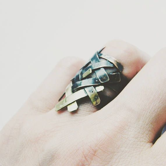 Braid. handmade mixed metal ring oxidized copper ring with