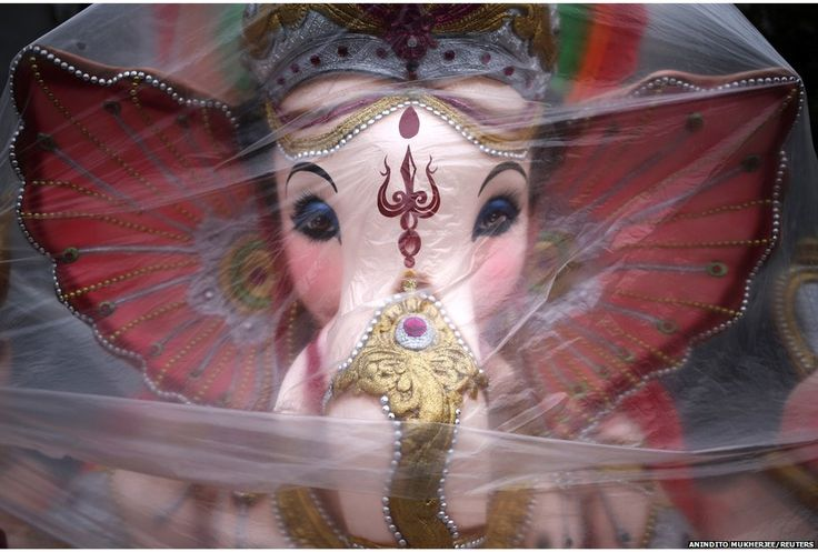 A statue of Ganesh deity of prosperity in the Ganesh Chaturthi festival in Delhi, 29 August
