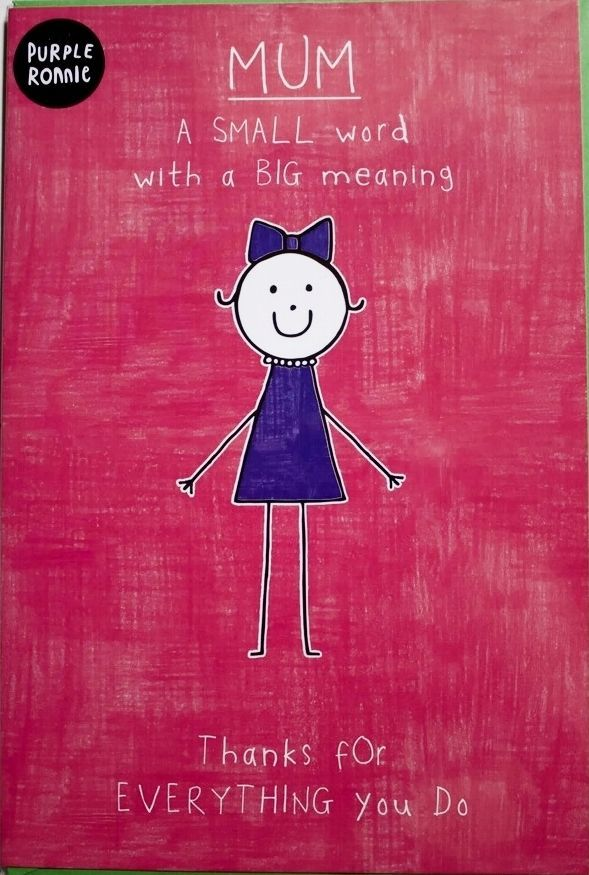 Mum, a small word with a big meaning Purple Ronnie Birthday card, brand new
