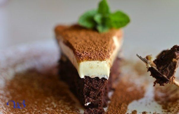 Truffle cake with white chocolate mousse