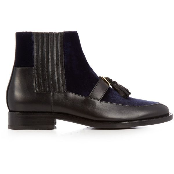 Balmain Theodorade leather and velvet chelsea boots ($490) ❤ liked on Polyvore featuring shoes, boots, ankle booties, 2016 boots, black navy, navy blue booties, black booties, leather boots, black leather booties and leather booties