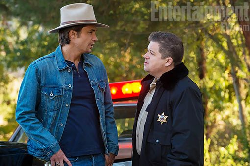 Patton Oswald and Timothy Olyphant on season 4 of Justified.