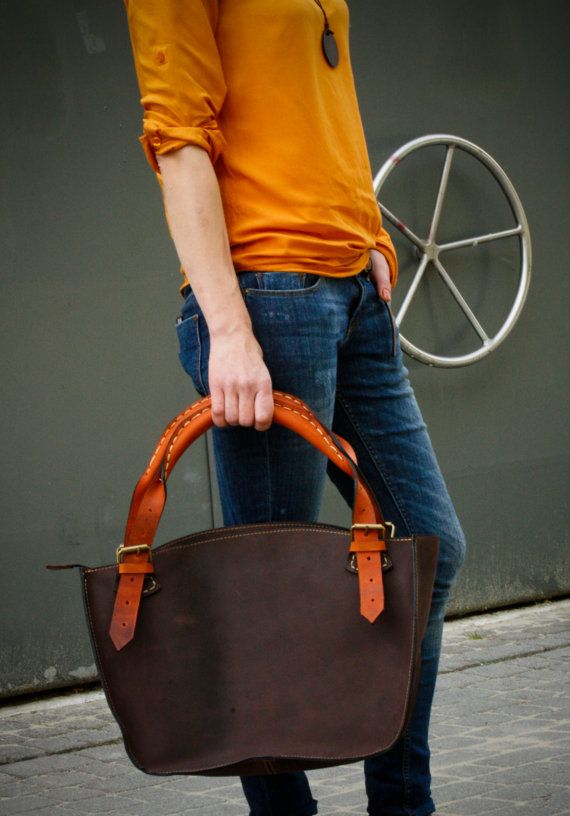 Brown and orange leather tote bag $160