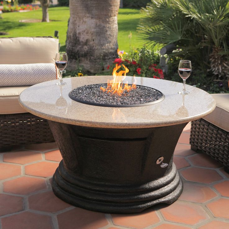 california outdoor concepts san simeon round chat height fire pit table from hayneedlecom