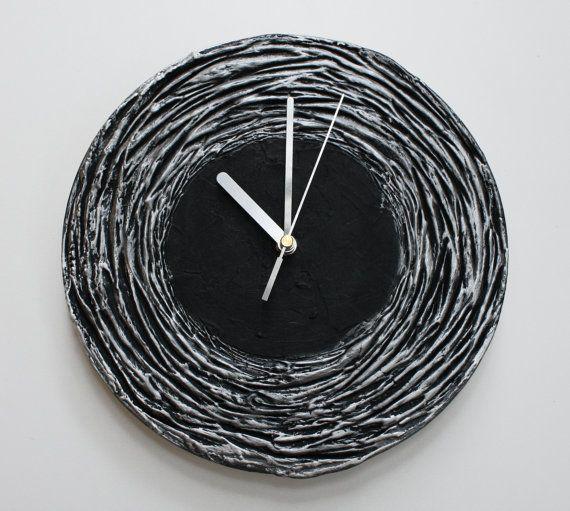 #black #decor #design #interior Black Clock Black WALL CLOCK Black home decor minimalist