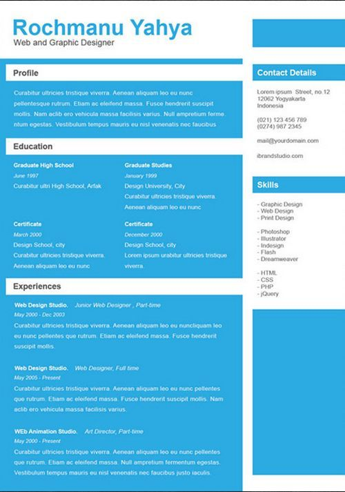 cv templates 9 amazing collection of free cvresume templates - One Page Resume Template Word