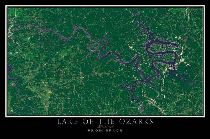 Lake Ozark Missouri >> The Lake Of The Ozarks Missouri Satellite Poster Map ...