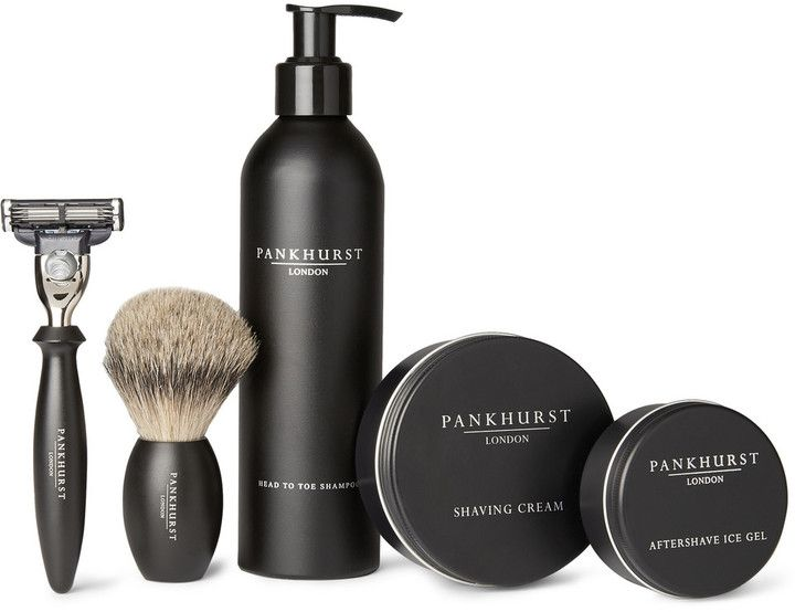 """Pankhurst London Shaving Set - The saying goes """"a good lather is half the shave"""", and this comprehensive kit from specialist grooming company Pankhurst London has your whole routine covered. After cleansing, use the perfectly weighted brush to apply the shaving cream and finish with the soothing Ice Gel for a confident start to the day."""