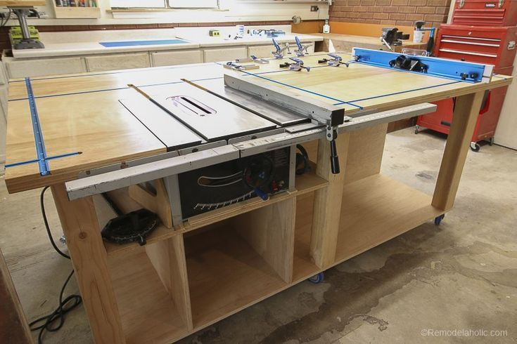 DIY Woodworking Ideas DIY Router Table and Table Saw Workbench Building Plan #remodelaholic. #DIYRoute...