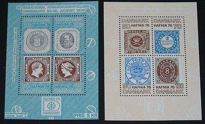 Stamp Pickers Denmark 1975 HAFNIA MNH S/S Lot x 2 Scott #565 #585 VF