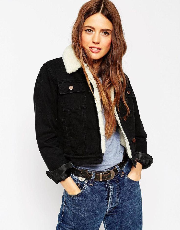 Image 1 - ASOS - Veste courte en jean avec doublure et col en fausse fourrure - Noir pur