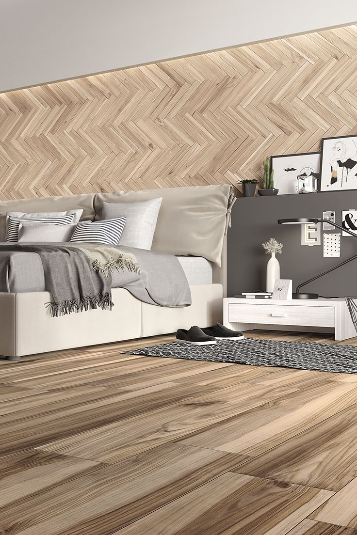 KORU is the new collection of porcelain stoneware strips by Mirage, a project that seeks to offer a reinterpretation of the types of wood of fruit trees. #miragetile #porcelaintiles #bedroom #bedroomdecor #wood