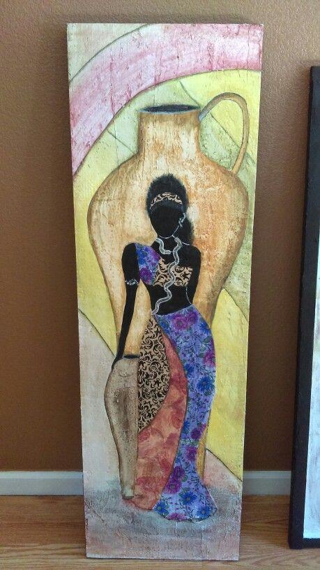 Hermoso cuadro Africano, realizado en madera reciclada, textura, tecnica decopage, y pinturas acrilicas