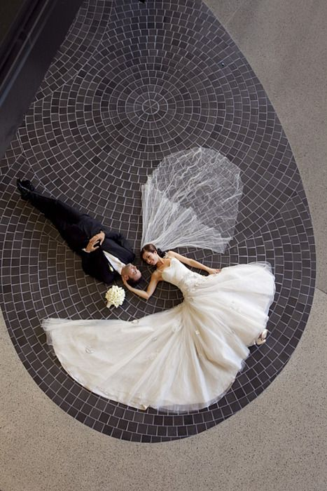 Wedding picture from above