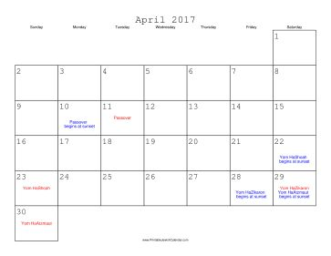 April 2017 Calendar with Jewish holidays, free to download and print