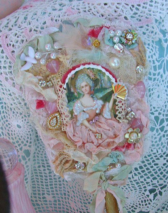 Marie Antoinette Bejeweled Vintage Hand Mirror by treasured2