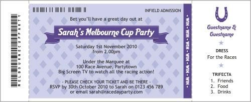 Horse Race ticket party invitations.