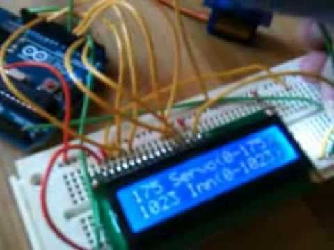 Arduino project - analog pot, LCD display and servomotor