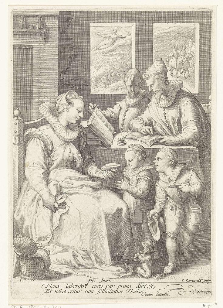 Jan Saenredam | De ochtend, Jan Saenredam, Cornelius Schonaeus, Gerard Valck, 1679 - 1726 | In een vertrek zit een moeder met een schaar in haar hand op een stoel. Een naaimand staat naast haar op de grond. Ze geeft een van de twee kinderen die aan haar schoot staan een boterham. Het meisje houdt de handen gevouwen in gebed. Het tweede kind heeft een boterham in de hand. Bij beiden hangt de schoollei aan de arm. Een hondje zit in vragende houding op de grond. Achter hen staat de vader met de…