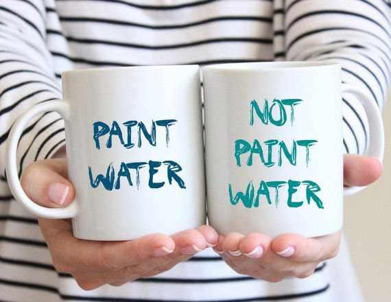 Unique Creative Gift Idea - Funny Coffee Mug Set - Funny Artist Mugs - Gift for Artist - Mug for Painter - Funny Paint Water Mugs - Tea Cups