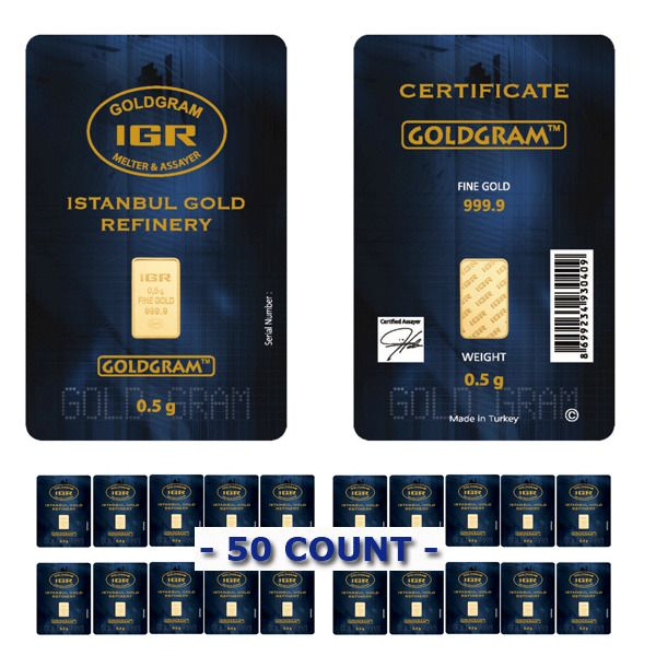 #1 TRUSTED SELLER Lot of 50 - 1/2 Gram IGR Mint 999.9 Gold Bar Sealed w Assay Certificate 24 Karat. #goldfever #gold #fever #bar #ebay #future #proof #investing #investment #safest #safe #secure #best #bullion #rich #bullion #physical #where #to #buy #safely #no #risk #price #smart #clever #rich #1 #kilo #gram #ounce #bar #au