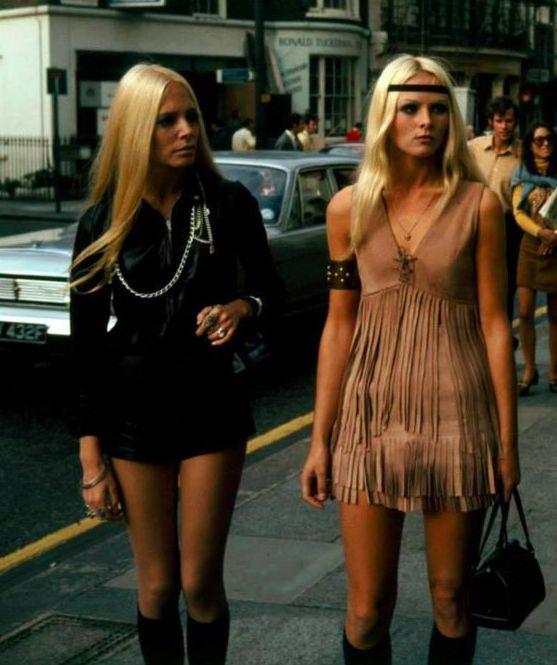 English hippie girls in swinging London, 1960s