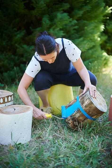 What you will need: paint, a few tree stumps, drop sheet, painter's tape, roller