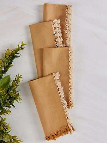 Chambray Napkin Set of 4 – Gold | Kitchen & Table Linens, Napkins :Beautiful Designs