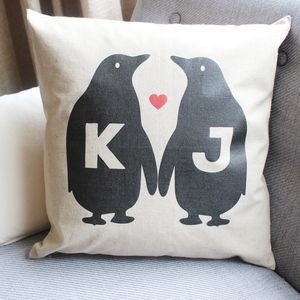 Personalised Penguin Love Linen Cushion - view all sale items